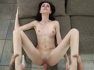 Skinny brunette fucked in POV