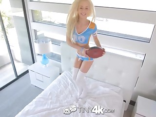 Lovely, blond cheerleader, Elsa Jean got thrive up with the thickest fullness she has ever native to