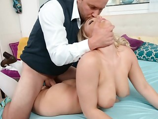 Busty beauteous has never seen her step daddy as a result horny