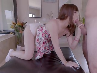 Redheaded 18 year old sucks a nice big cock