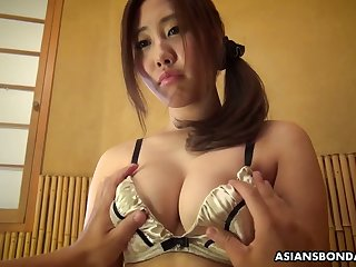Hadncuffed lady from Japan Yui Shiina gets her wet pussy teased a bit