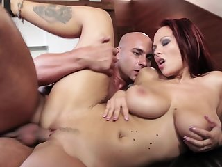 Busty beauty likes the warm feel of cock in her shaved cunt