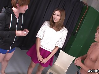 Soaking slit of Jap nympho Julia Shinozaki is teased with vibe and fucked mish