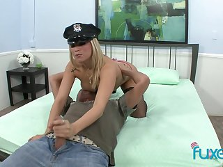 Before topping cock busty blonde cop keeps jerking dude's cock well