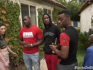 Interracial gangbang with a lot of black dudes and horny Casey Calvert
