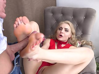 Footjob fun and hardcore pussy drilling with sexy Caty Kiss