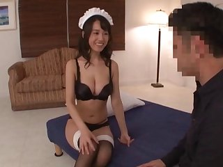 Japanese housemaid Asami Nagase fucked on the floor by the houseowner