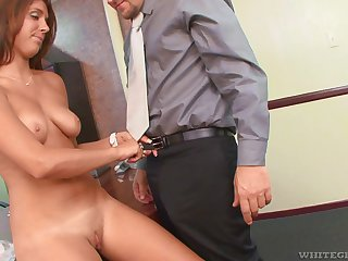 Dude with a long dick makes his secretary Miley Ann drop her clothes