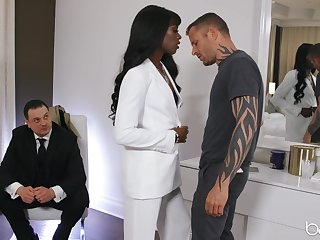Classy black girl Ana Foxxx is watched while fucking a white man