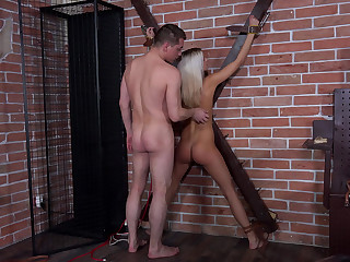 Blonde gets crucified and toy-teased