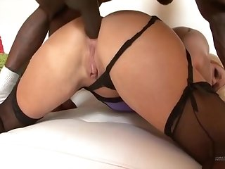 Blonde MILF is banged by a muscley black dude
