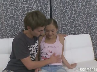 Nice teen with puffy nipples Misa gets her pussy fucked and jizzed