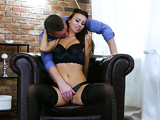Boyfriend fucks sensual girlfriend Vicky Love and fills her pussy with sperm