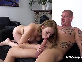 Pissing on the cutie sucking his fat dick