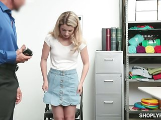 Shoplifting blond teen Abby Adams gets facial after heavy pussy pounding