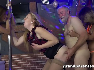 Grand Parents Learning Two Teenie Strippers How To Fornicate