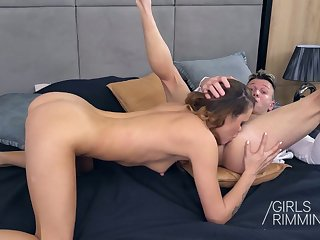 Young chick Verona Sky gives a rimjob to sugar daddy and takes cum in mouth