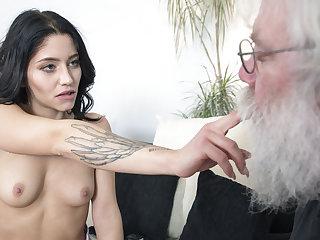 Grandpa sucks young girls tits then gets a blowjob