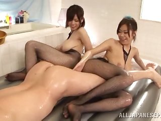 Charming girls surrender their pussies for intensive fucking in a threesome act