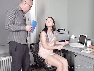 Tall cute coed Nikka Hill would rather study how to fuck a man