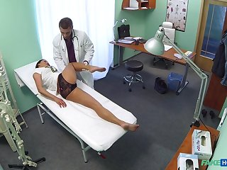 Rim job giving nurse Enny gets penetrated balls deep on the hospital bed