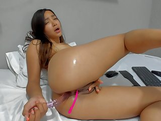 Colombian Teenage Girl Plays With Dildo