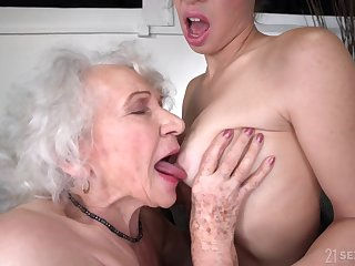 old and young lesbian sex with retired GILF and 18yo brunette - retirement gift
