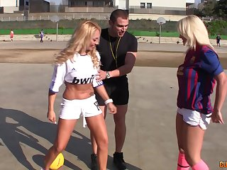 One lucky guy picked up and banged two adorable blonde sluts