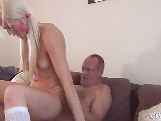 Never did she tries hard sex with step daddy, and she loves it