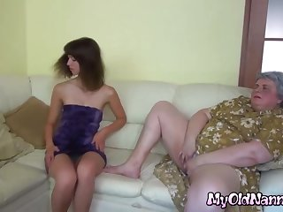 Supersized Big Beautiful Woman nanny in lesbo action with skinny young cutie