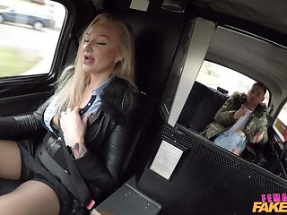 Blonde taxi driver Kayla Green lifts her miniskirt to ride a dick
