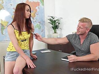 Mischievous coed bangs her geography teacher on top of his desk
